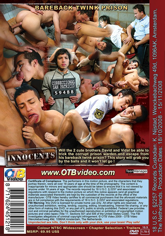 Bareback Twink Prison: Innocents DVD - Back