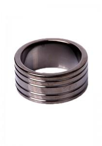 Black Steel Cockring Ribbed