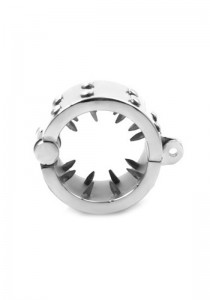 Male Chastity Device - Teeth Spiked Cock And Ball Ring - Stainless Steel